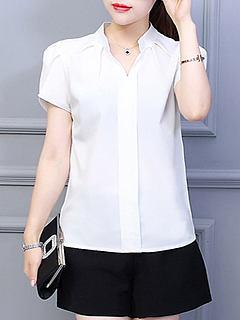 fdd95f1430d ... Spring Summer Polyester Women V-Neck Plain Short Sleeve Blouses.  Previous