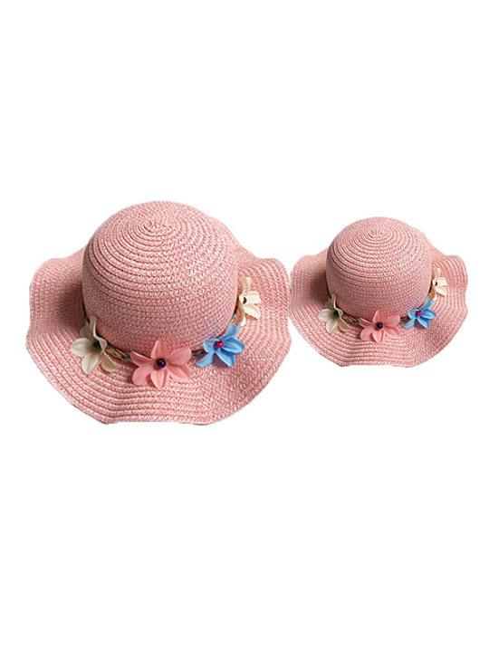 Flores de niña mamá decoradas sombrero de paja - comfybub.com