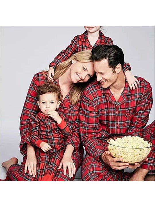 Conjunto de pijamas a juego de cuadros de Navidad con cuadros