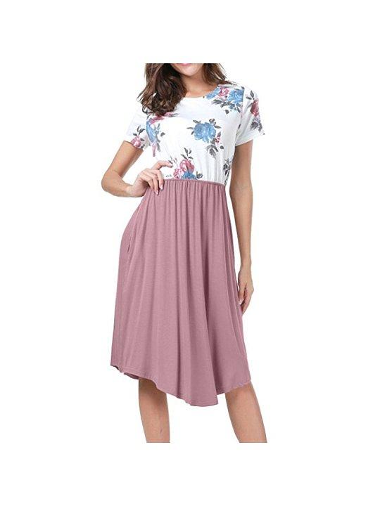 Vestido de manga corta de costura floral patrón - comfybub.com