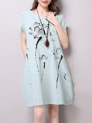 Round Neck Slit Pocket Printed Sack Shift Dress