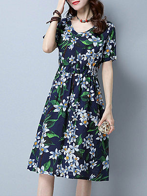 V-Neck Drawstring Casual Floral Printed Skater Dress