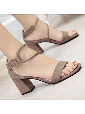 04e03c47543d Plain Chunky High Heeled Velvet Ankle Strap Peep Toe Date Office Sandals